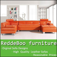 2014 vivid orange color u shape sofa extra big size design 6897#