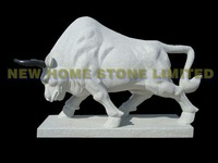 100% hand carved stone bull statues garden animal ornament decor