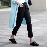 Autumn Women Black Pants Pleated Slim Cuff-up Capris calcas femininas 2014 Lulu Leggings calca Trousers Casual Work Wear harem