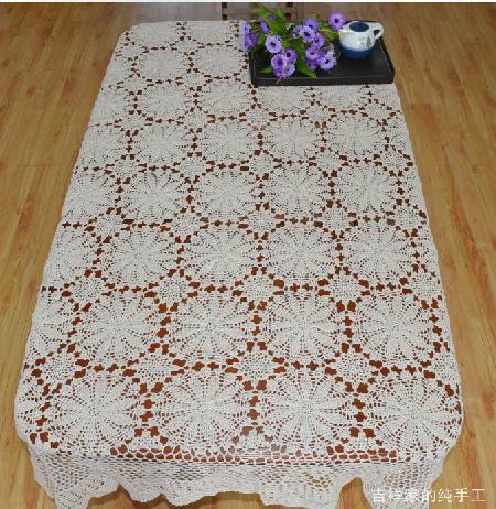 Retail 130x180CM Rectangular size crochet tablecloth beige or white