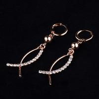 Luxury 18K Gold Plated Crystal Drop Earrings for Wedding Women 2014 new fashion women's Accessories