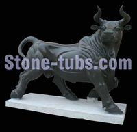 100% hand carved natural black bull stone statue sculpture garden decoration