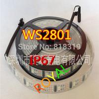 WS2801 IC Digital addressable RGB LED magic dream color Strip WS2801 IC 160 LEDs 32Leds/M pixel Waterproof IP67 5M DC5V 16.4
