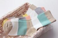 2014 Hot Sale1lot=24pcs=12pair Striped Women's Socks Ankle Socks for Women Summer autumn cotton cute Candy Color meias femininas