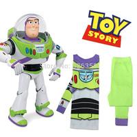 Retail baby boys Buzz lightyear pajamas/kids cotton long sleeves clothing set/Children cartoon Woody nightgown/sleepwear
