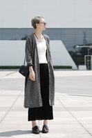 2014 fall fashion long warm sweater with neck women Sleeves Khaki Trench Coat colete Cardigan feminino tricotado uk Knited Wear