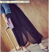 Irregular trouser legs chiffon split pants, ladies wild pants 9168-D1