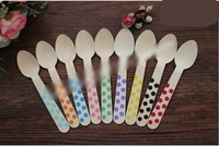 20pcs Kids Party wooden spoon Colored dots wooden spoon