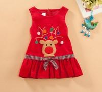 free shipping children girl  short sleeves 100% cotton corduroy red dress Christmas gift vest elk  for 2-6 years for winter