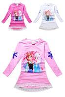 2014 Elsa & Anna free shipping 5PCS / lot Frozen lace long-sleeved cotton T shirt girls Frozen Lace cartoon T shirt 3027