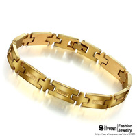September New Fashion Men's Jewelry Chain & Link Bracelet 18K Gold Plated Cross Stainless Steel Chain Bracelet (Silveren BA1128)
