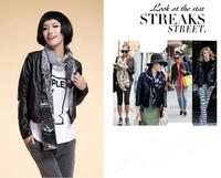 2014New Fashion Brand Autumn Winter European Style Causal Large Plus Size  Ladies Short PU Leather Zipper BlackJackets For Women