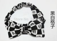 Free Shipping!2014 New 10pcs/lot Fashion Women Big Bowknot Flower&Striped Print Headband Girls Hair Bands Hair Accessories