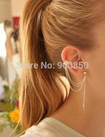 Imixlot Clip Earrings Delicate Golden/Silvery Leaf Tassel Chains Alloy Trendy All-match Clip Earrings HOT Selling JE05110