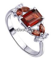 Garnet ring Free shipping Natural garnet Red gems wholesales 925 silver plate 18k white gold Fashion rings #14090107
