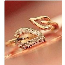 R212 Hot Fashion 2014 New Two Leaves Imitation Diamond Couple Rings Korean Female Vintage Jewelry Influx of People(China (Mainland))