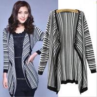 2014 Autumn Fashion Elegant Sweater Women Cardigan Vintage Striped Long Cardigans Coat Knitted Sweaters