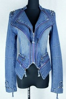 Korean women's denim jacket wild long-sleeved silk blouse inside jacket authentic cowboy clothing fashion zipper jean tops coats