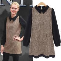 Winte Plus Size Women Clothing Long Sleeve Vintage Fashion Turn-Down Collar Patchwork Wool Dress 9880