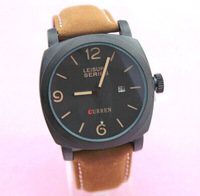 Freeshipping 53pcs/lot new design model calendar version brown with curren brand fashion watch,Japan imported quartz movement,