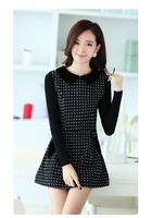 Fashion Womens Autumn New Styles Knitting sleeves Woolen Dress Polka Dot Long Sleeve Elegant S-XL Dresses A0156