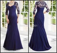 Women Elegant Lace Long Formal Evening Dresses Mermaid Evening Gown With Sleeves Vestidos De Festa 2015 Chiffon Royal Blue