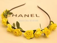 free shipping Bohemian hair band yellow  wind beach jewelry wholesale flower hair hoop headband hair accessories head