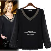 2014 Camisa Dudalina Camisetas Femininas Big Size Women Clothes Chiffon V-Neck Beading Lantern Sleeve Blouses 9895
