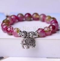 D631 Fashion Jewelry National Tourmaline Beads 10mm Thai Silver Elephant Buddha Energy Lucky Healthy Shamballa Bracelets