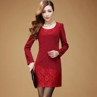 Fall 2014 Wholesale Clothing Women Vestido Rendado XXL Plus Size Long Sleeve Slim Lace Solid Mini Dress 6121