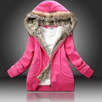 Women Clothing Se Fashion 2014 Autumn Winter Best Choice Thicken Warm Cardigans Fur Collar Solid Hoodies 607