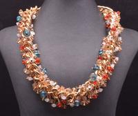 2014 New Trendy Fashion za Brand Big Mental Clain Crystal Gem Collar Statement Necklace & Pendants For Women 9221