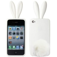 200Pcs/Lot DHL Cute Bunny Rabito TPU Skin Case Cover For iPhone 4 S 4G 4S Lovely Rabbit with Tail cases for iphone4 High Quality