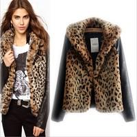 2014 New Autumn Winter European Style High Quality UK 6XL Plus Large Size Women Slim PU Leather Spliced Leopard Jackets Coats