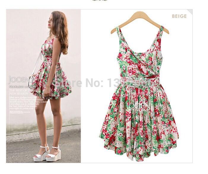 S-L New women's 2014 summer halter dress Small Floral Dress V-neck loose irregular mini chiffon dresses women summer dress(China (Mainland))