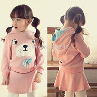 clothing set girls spring & autumn pink  cartoon bear sweatshirt hoodies  top + short skirt 2pieces sports sets  ETJ-T0317
