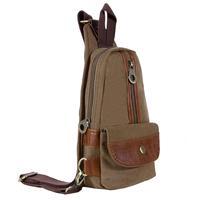 KAUKKO FX221 Canvas Fashion Single Shoulder Cross Body Tote Bag Chest Pack - Kahki