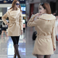 Free shipping 2014 women's Rabbit Fur Collar Long Sections Slim Thick Woolen Coat New Fall Winter Clothes Woolen Coats Outwear