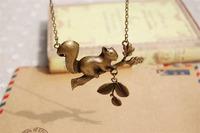 Vintage Antique Bronze Plated Squirrel Pendant Necklace
