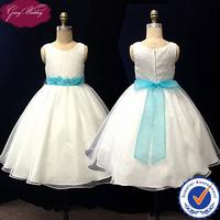 Goingwedding Satin Organza Ball Gown Puffy Flower Girl Dress With Sash HT013