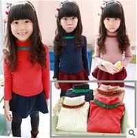 New 2014 Autumn&Winter Children's Clothing Lace High-Necked Long Sleeved Lovely Dot Girls Blouse