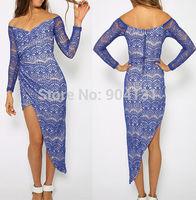 Free shipping 2014 Irregular fashion lace full sleeve slash neck dress ladies Party dress