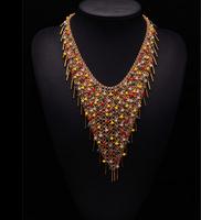 2014 New Arrival Fashion za Brand Bohemia Tassel Long Colorful Crystal Multi-layer Necklace Alloy Choker Luxury Jewelry 9224