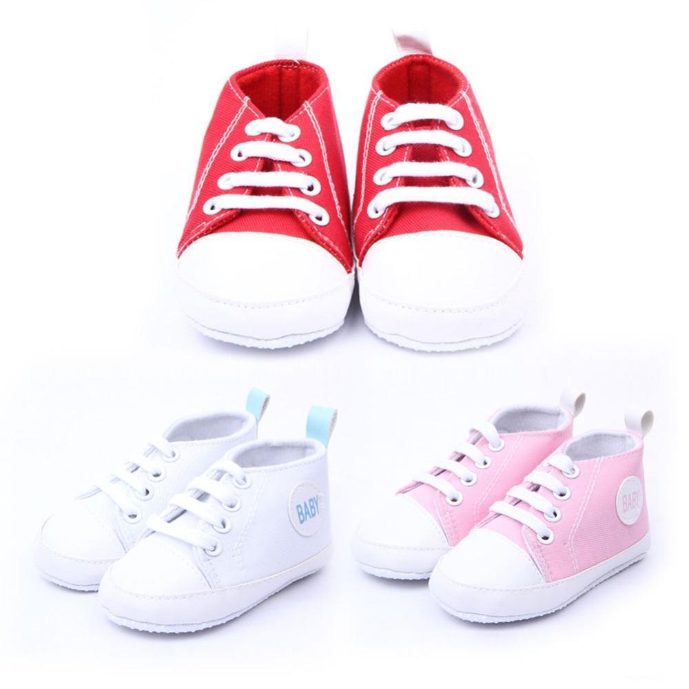 Милый младенец комфортно малыша мальчик девочка мягкий обувь сникер брезент обувь