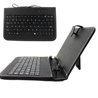 """1 Pc/lot Leather Case USB Keyboard for 7"""" 8"""" 9"""" 9.7"""" 10.1"""" Inch Tablet PC +Stylus Capacitive Pen + Two OTG Cables"""