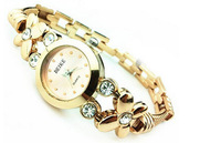Unique Design Luxury Women Watch Round Dial Analog Display Wristwatch Chain Strap Stainless Steel Watch