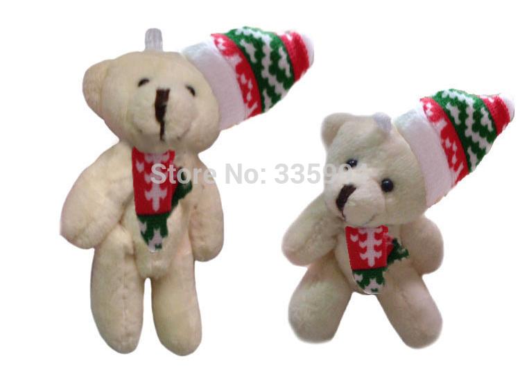 Free Shipping (30 Pieces 8cm Beige) Christmas teddy bear holding heart plush doll, Christmas heart sitting bear hug(China (Mainland))