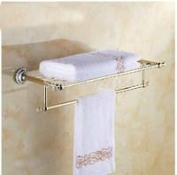 Free Shipping!  Golden Brass Bathroom Towel Shelf Single Lever Wall Mount Towel Bar Diamond Hook