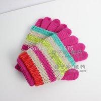 2014 winter female child baby gloves dual child stripe paillette