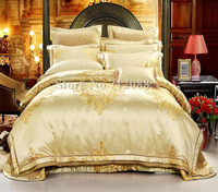 Europe Luxury 100% Real Silk Cotton Satin Jacquard 8pcs QUILTED duvet/comforter covers Queen/king wedding bedding sets